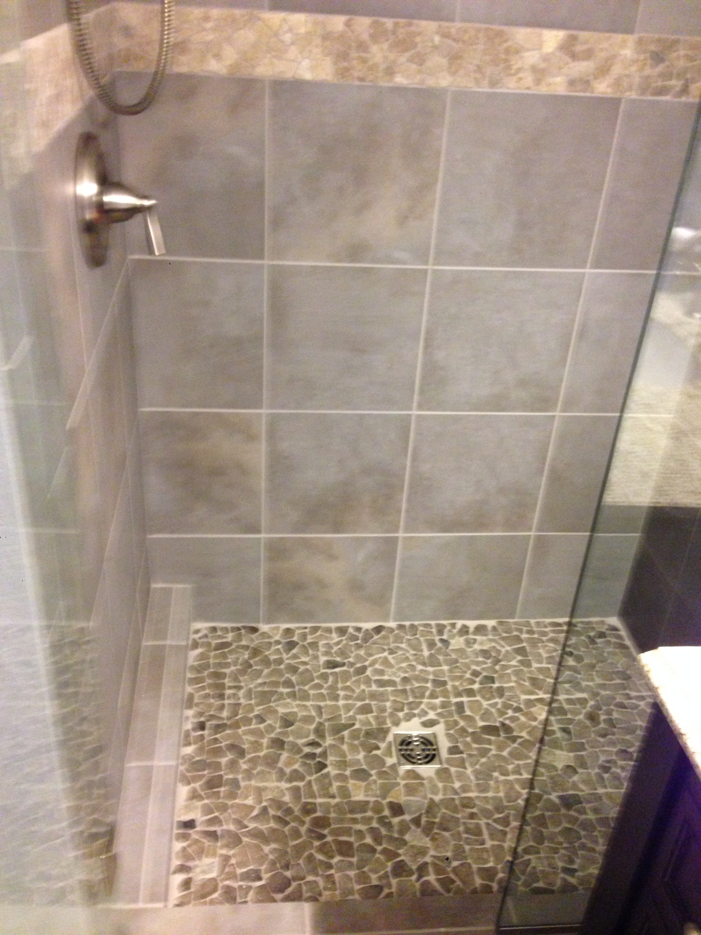 Shower Floor Tiles Which Why And How: Tile Shower Enclosure With Stone Shower Pan
