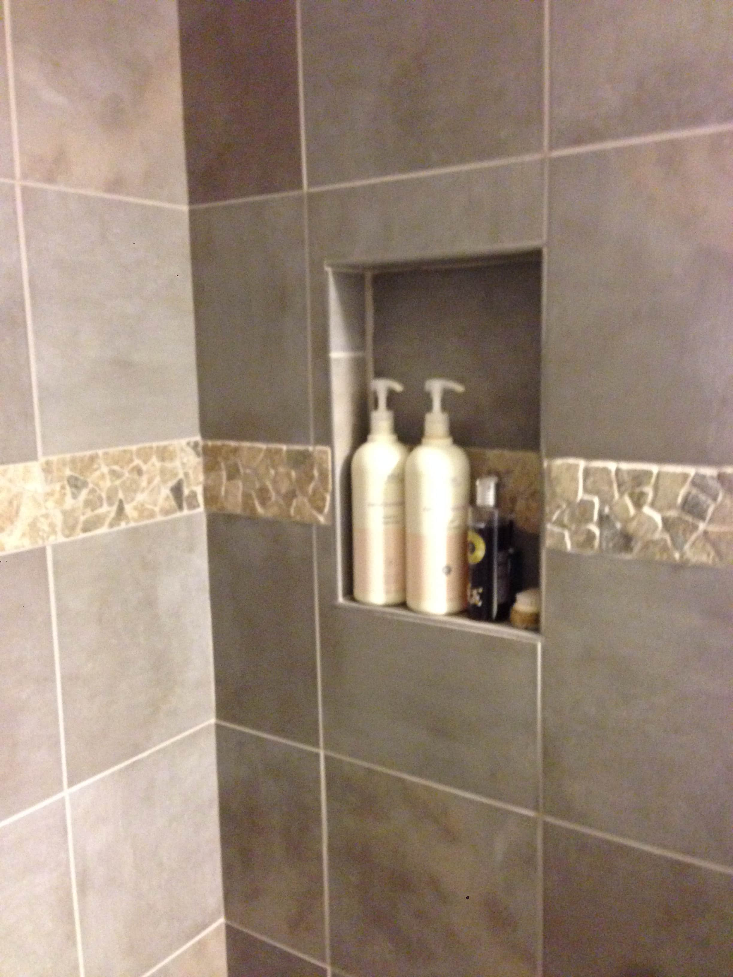 Tile shower enclosure with stone shower pan Bathroom tile showers